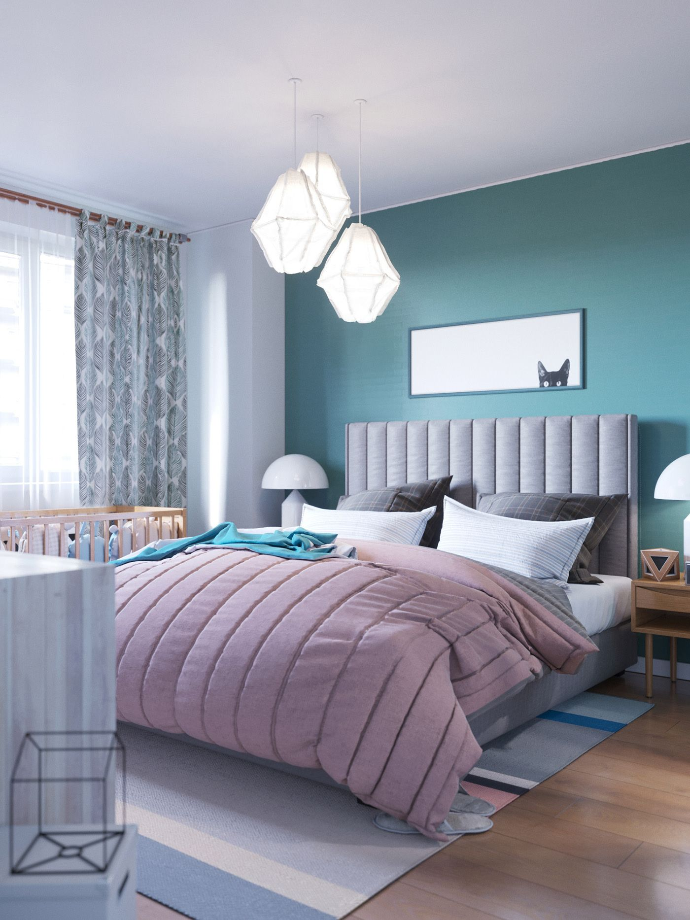 Bedroom of a young couple on Behance | Best bedroom colors ...
