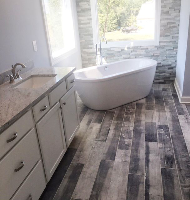 Installing Hardwood Flooring In Bathroom: Recent Installation Of Distressed Wood Plank Tile