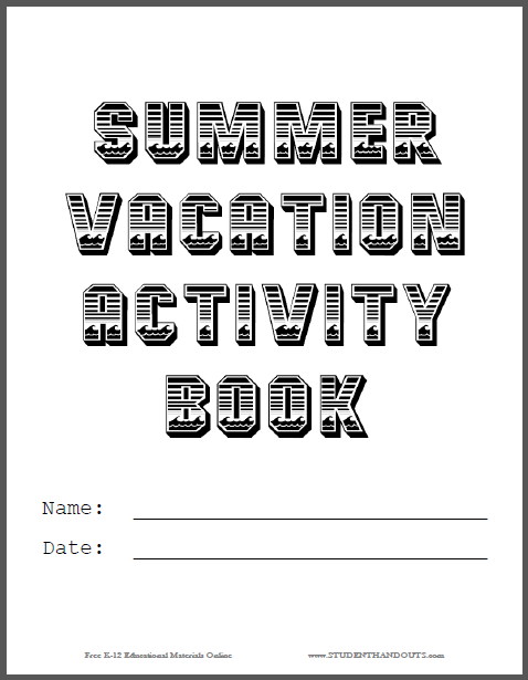 Design Your Own Book Cover Worksheet : Summer vacation activity book cover custom design your