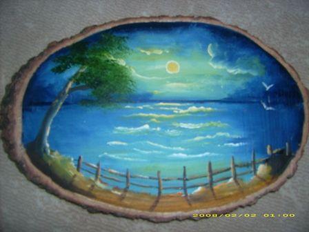Agac Kutuk Uzerine Yagli Boya Google Da Ara Stone Painting