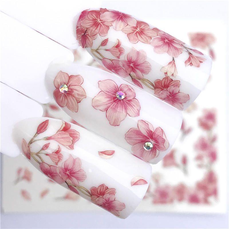 Ywk 1 Blatt Rosa Blume Wasser Transfer Slider Für Maniküre