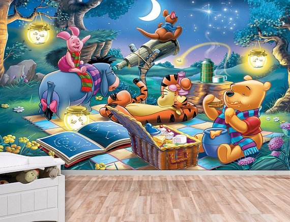 Winnie the Pooh and Friends Under the Night Sky Wall Mural