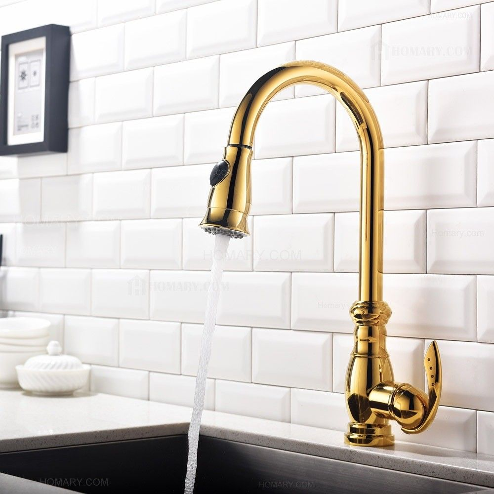 This traditional goose neck kitchen faucet in shiny gold combines ...