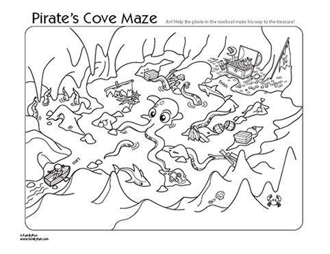 Fun Printables: Pirate Cove Printable Maze & Coloring Page