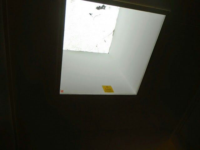 Asbestos Insulating Board Aib Upstand To A Skylight This Material Has Been Sealed And Labelled Surveying Skylight London
