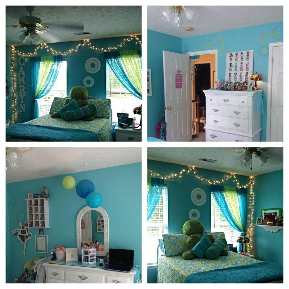Mini loft bed with slide  Teen Mini room make over Blues and greens Christmas lights
