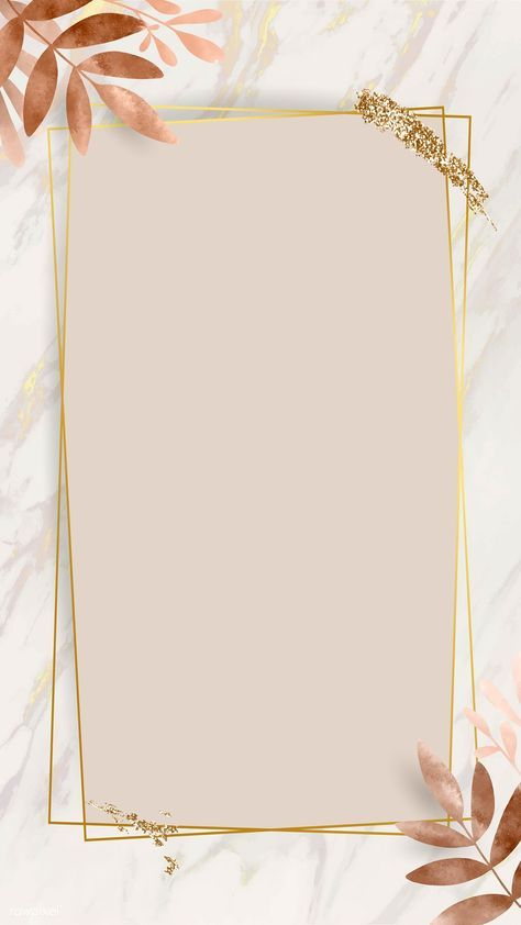 Download Premium Vector Of Leafy Golden Rectangle Frame Vector 1216966 Bingkai Foto Bingkai Bunga Kartu Bunga