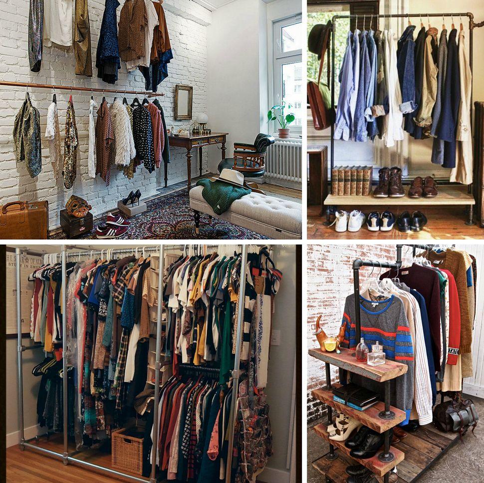 Inspiraci n deco vestidores fuera de serie low cost - Barras para colgar ropa leroy merlin ...