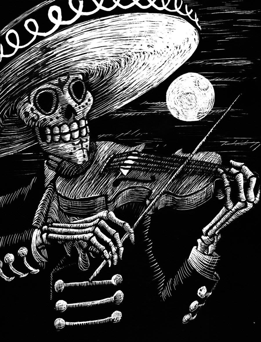 El Violín Muerte Day Of The Dead Artwork Skull Art Day Of The Dead Art