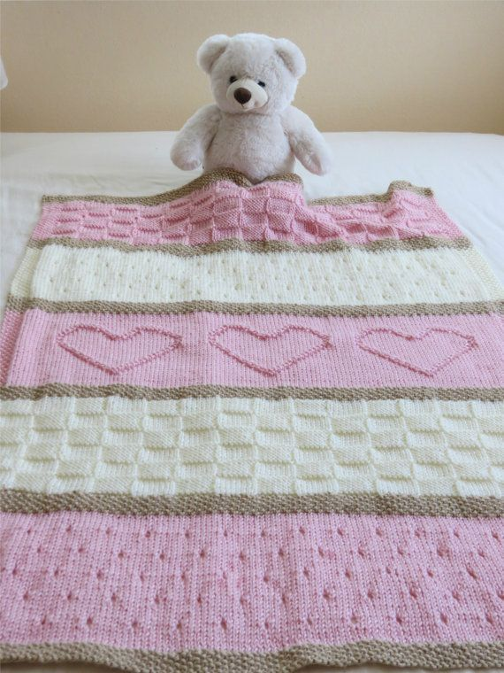Photo of Knit Baby Blanket Pattern, Heart Baby Blanket Pattern, Easy Knitting Pattern by Deborah O'Lea…