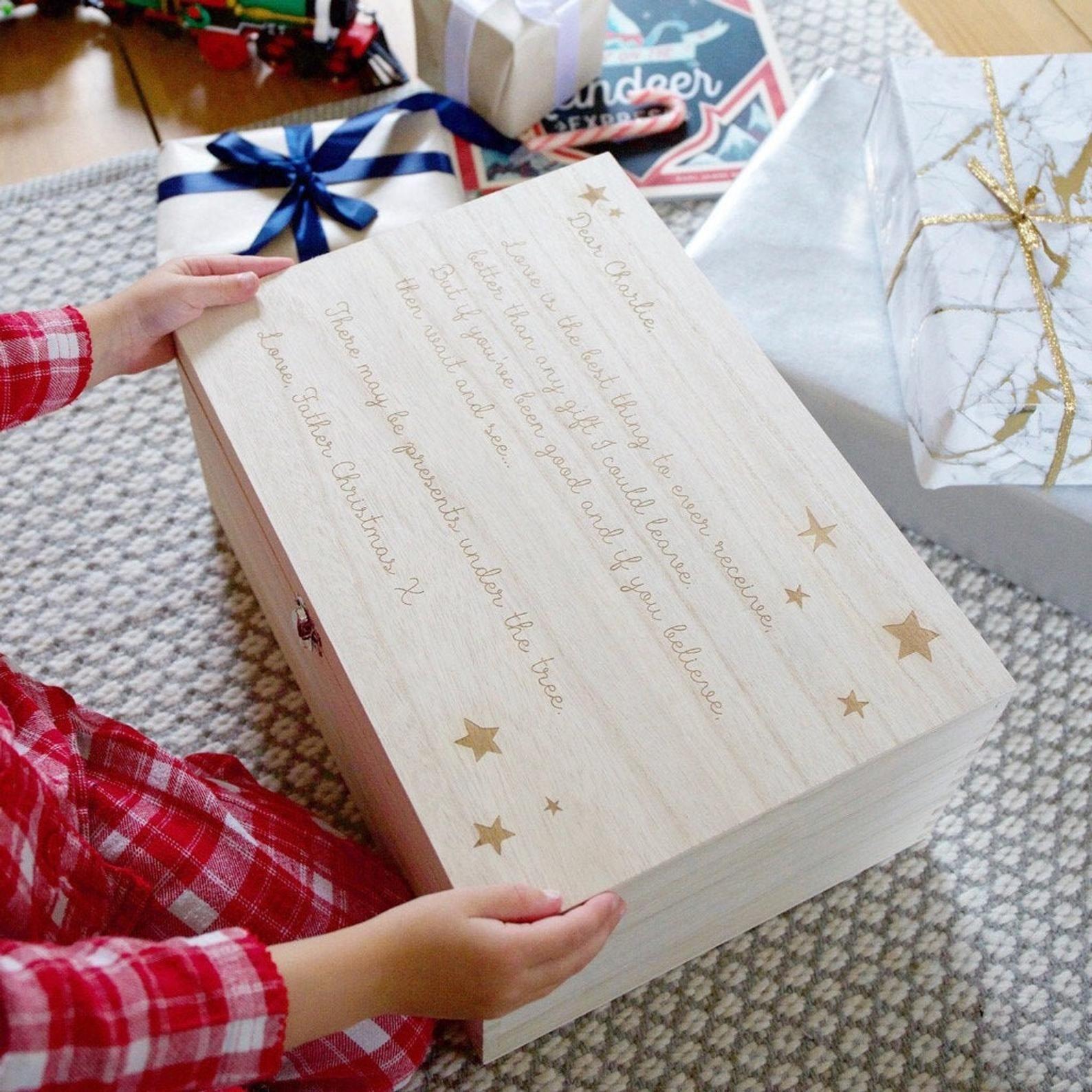 Personalised Christmas Eve Poem Wooden Hamper Box Engraved