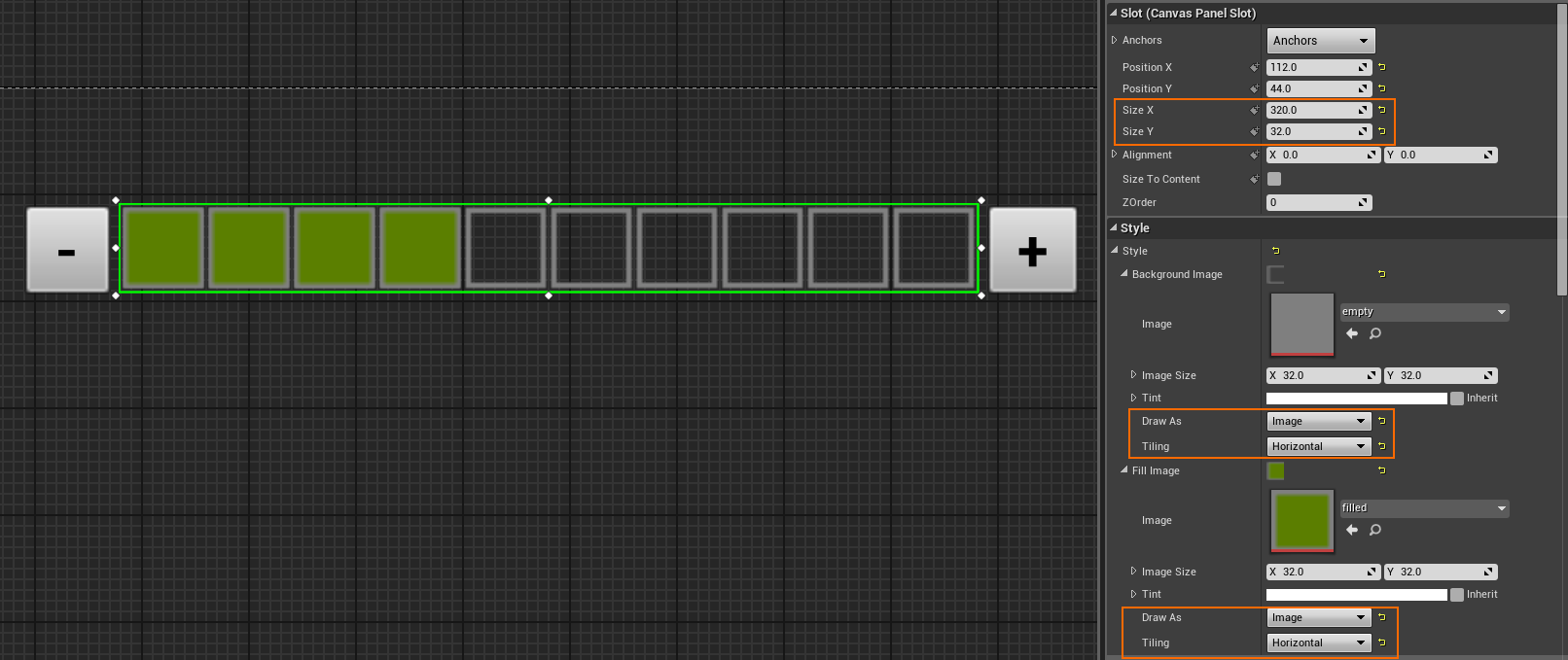 Tiled them horizontally in a progress bar: | UE4: Blueprint