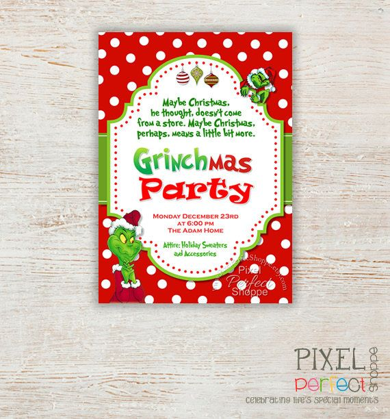 Grinch Christmas Party Invitations Grinch party Pinterest - free printable christmas flyers templates