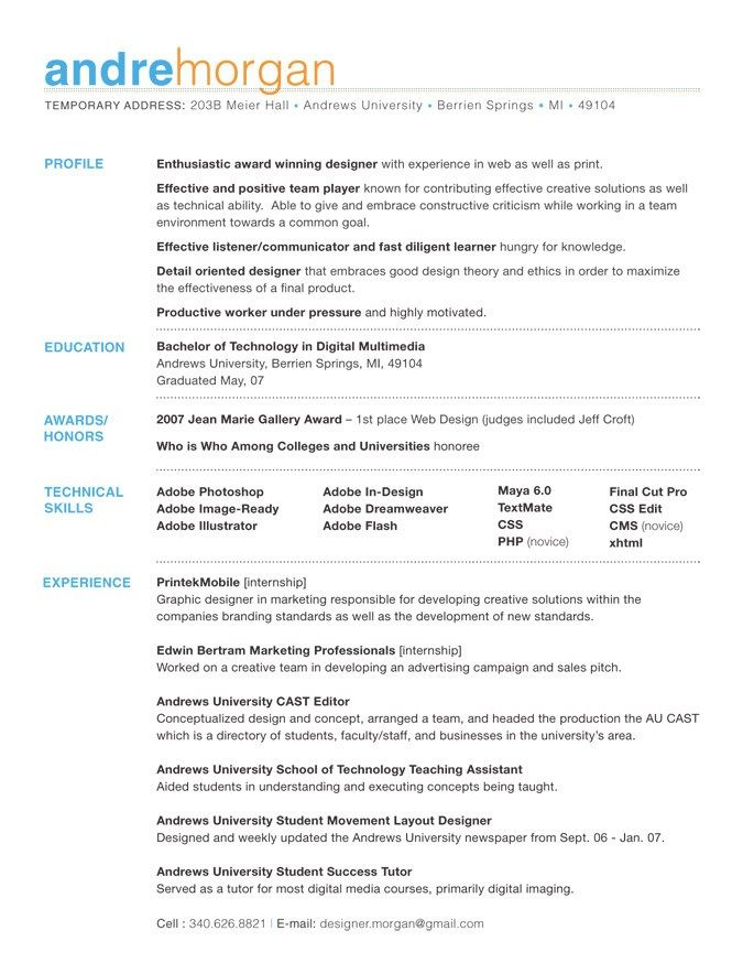 resume format - Best Font For Resume