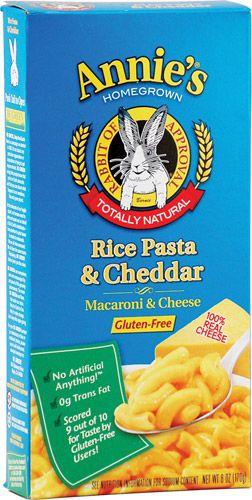 Annie S Homegrown Rice Pasta Cheddar Macaroni Cheese 6 Oz Rice Pasta Gluten Free Rice Dye Free Foods