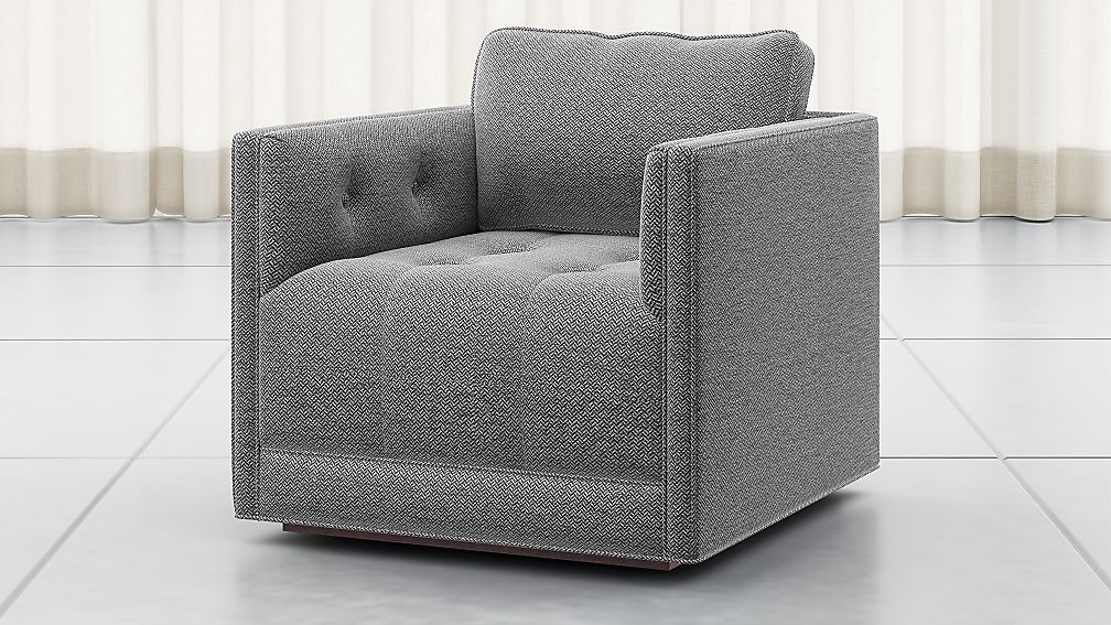 Wylie Grey Tufted Swivel Chair Crate and Barrel Swivel