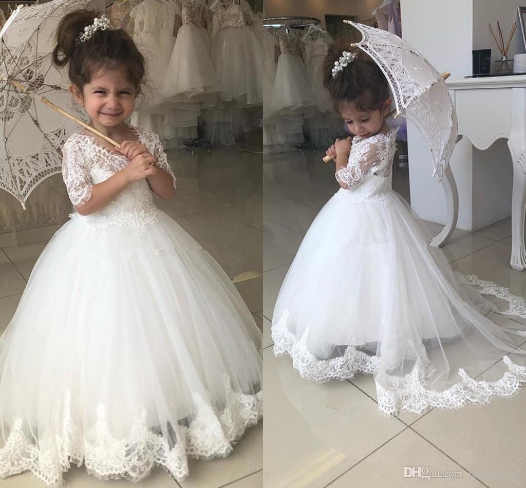 Half Sleeve Pearl Flower Girls Dress Wedding Bridesmaid Communion Party Pageant