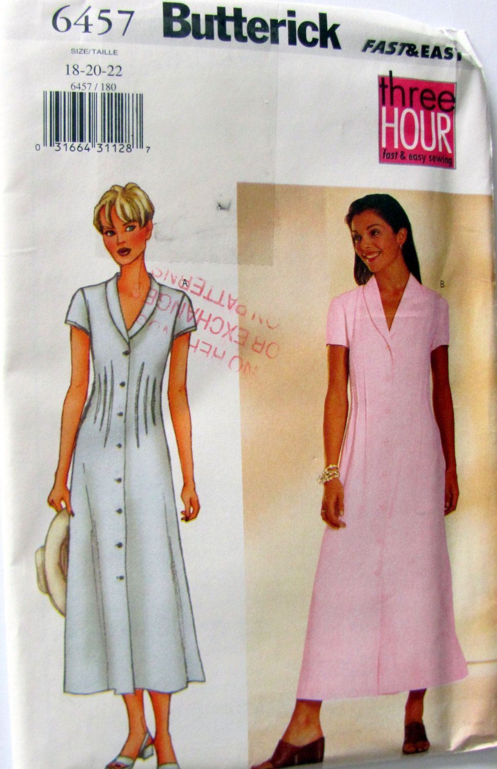 3 Hour Dress, Butterick 6457, Ladies Plus Sizes 18, 20 and 22, Uncut, Bust Size 40 to 44 Inches by OnceUponAnHeirloom on Etsy