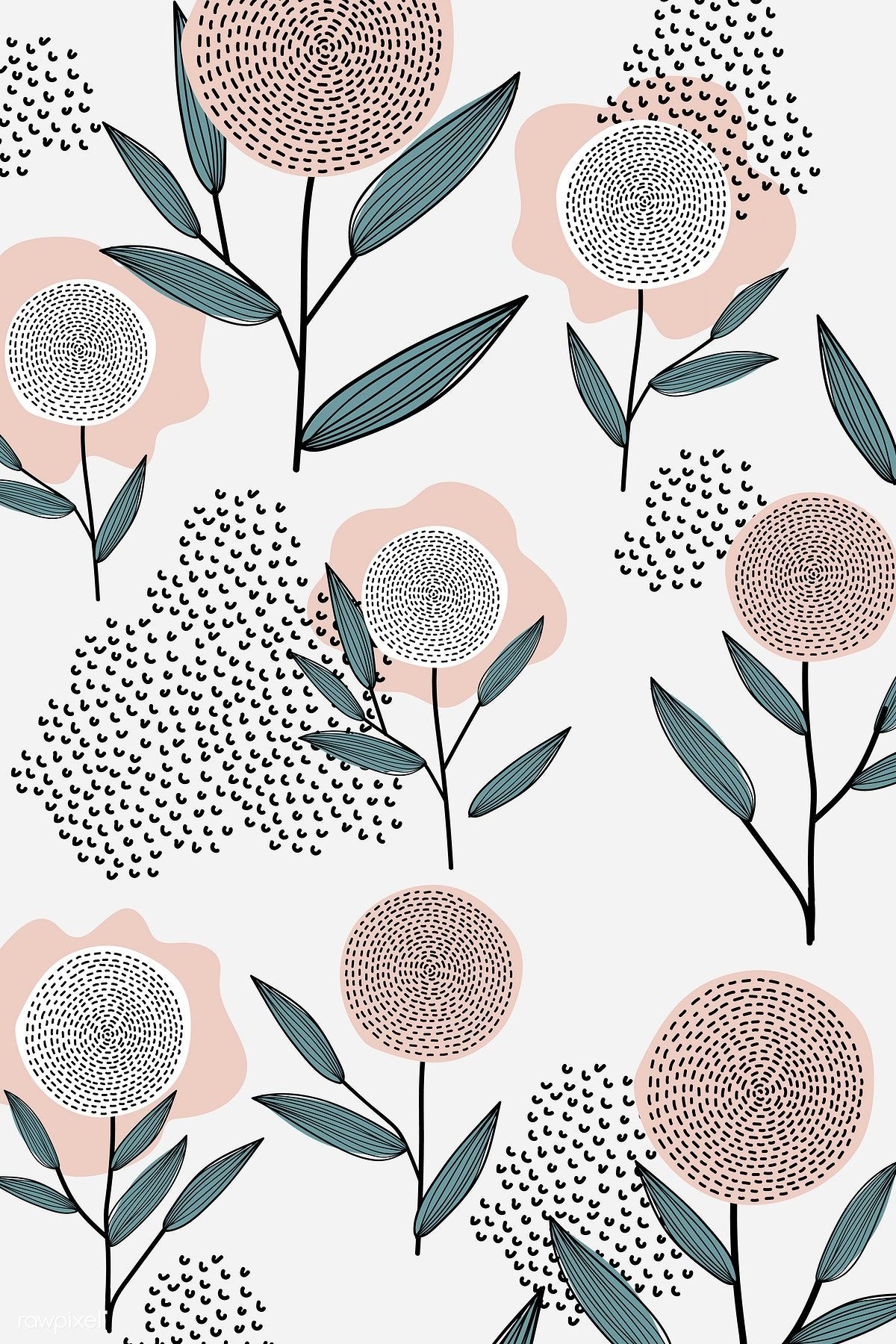 Download premium vector of Flower patterned white background vector 893044 #flow...