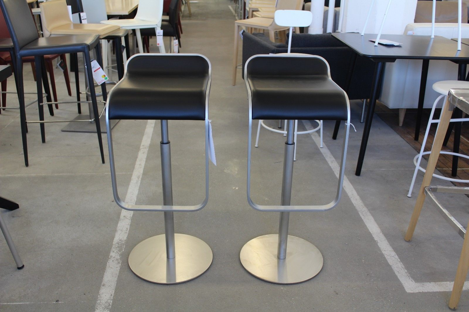 Lem Piston Stool With Leather Seat Black Set Of 2 Modern Dwr Design Within Reach