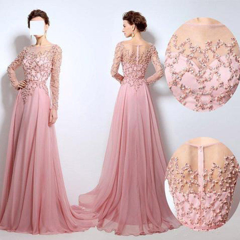 Scoop neckline see through beaded long sleeve pink chiffon long prom