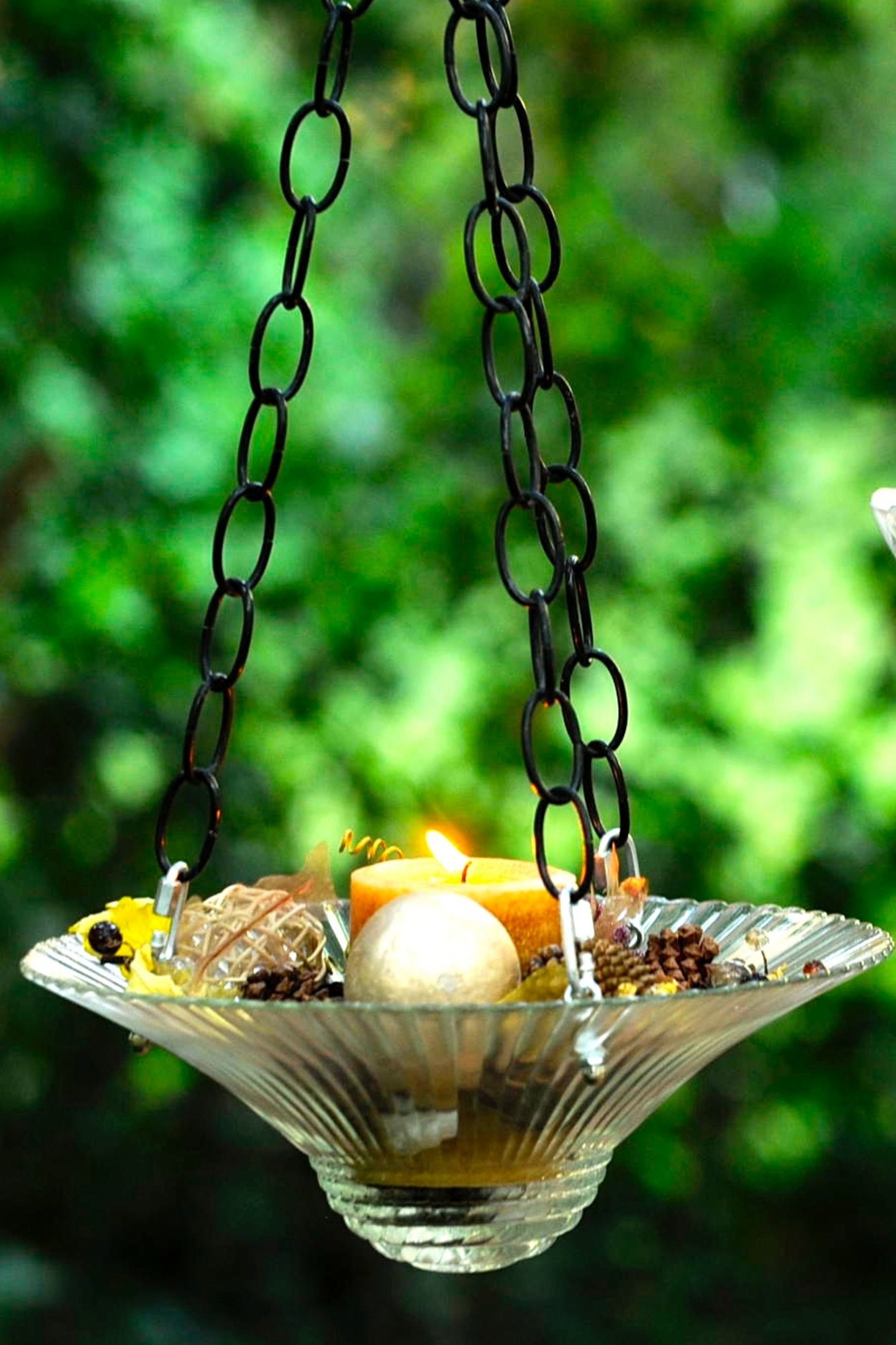 Hanging Candle Holder Glass Bird Feeders Glass Birds Hanging Candle Holder - Outdoor Vorhang Wind