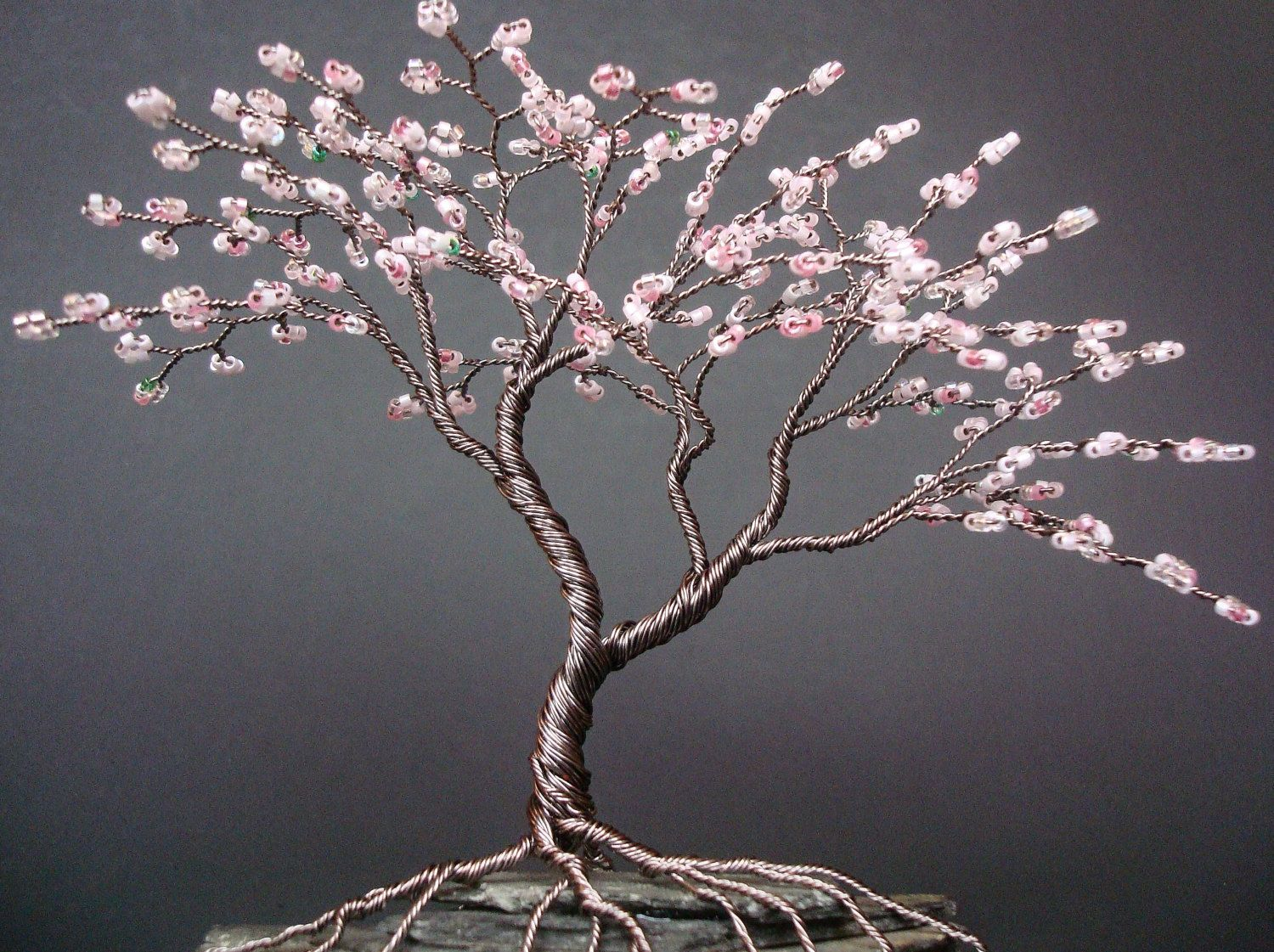 Asymmetrical Cherry Blossom Beaded Bonsai Mini Wire Tree Sculpture Spring Colors Made To Order Custom Wire Tree Sculpture Tree Sculpture Wire Trees