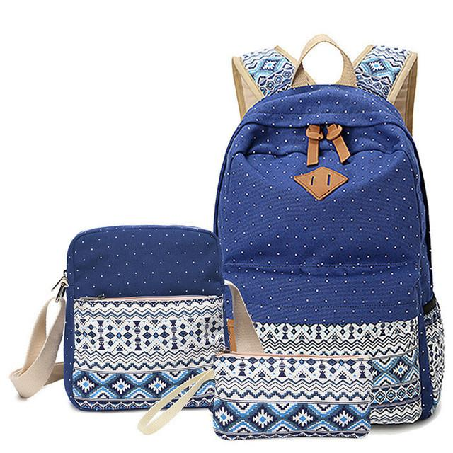 Westcreek Brand Lady Backpack Bags Women Dot Printing Canvas Backpack  Vintage Middle High Student Schoolbag Female 11e8f592b3