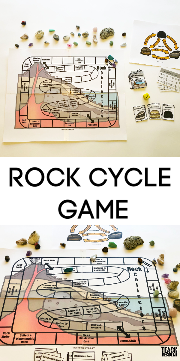 Rock cycle game for geology lessons