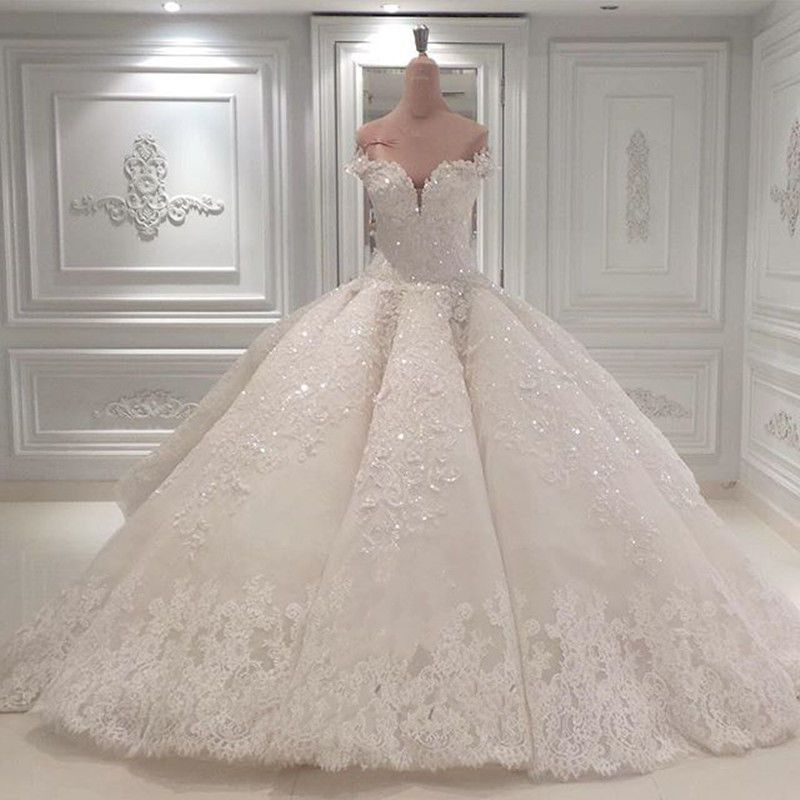 Luxury Shiny Wedding Dresses Sweetheart Princess Lace Rhinestones Bridal Gowns Shiny Wedding Dress Ball Gowns Wedding Sparkle Wedding Dress