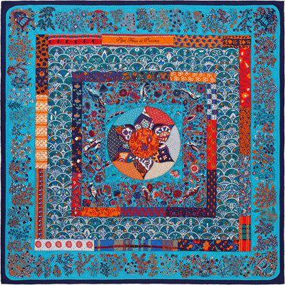 Hermès - Piqué Fleuri de Provence by Christine Henry - Cashmere and silk  shawl (140 x 140 cm) ff5f03a3faf