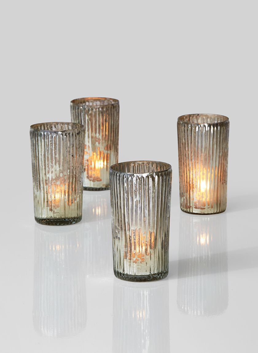 Tealight Holder Glass with a ribbed finish and Tealight Candle