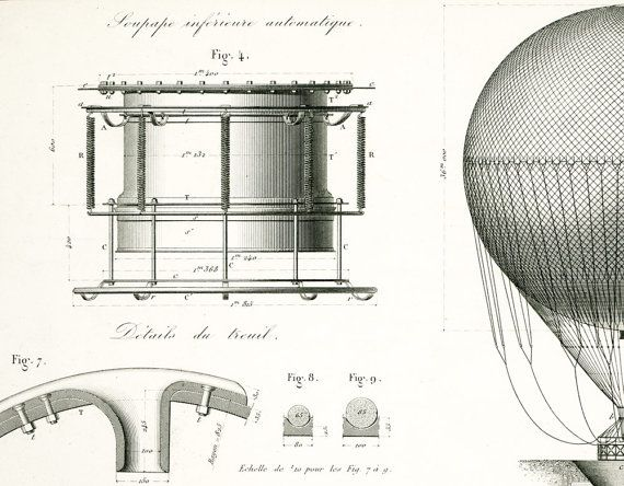 Authentic 1800s blueprint industrial design industrial patent authentic 1800s blueprint industrial design industrial patent print hot air ballon wall art malvernweather Image collections