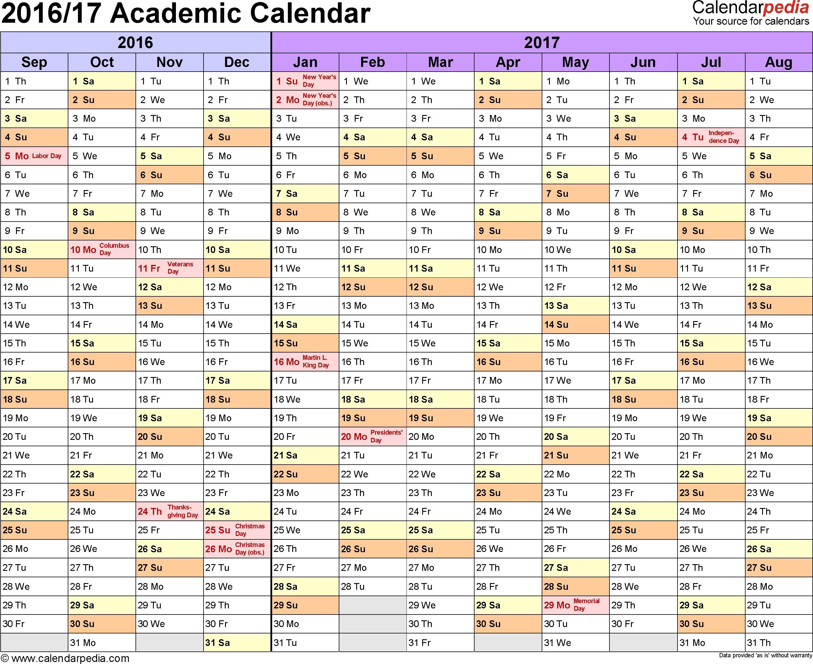 Academic Calendars 2016 2017 Free Printable Word Templates Free Printable Calendar 2016 Academic Calendar Printable Calendar Template