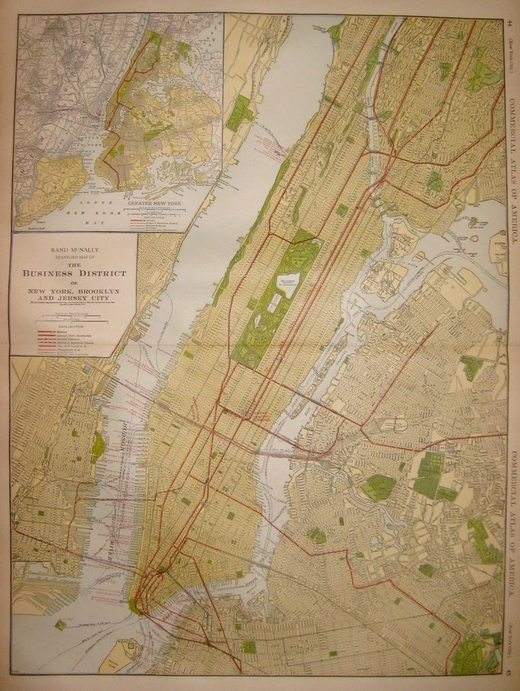 1921 Antique MANHATTAN Map RARE Poster Size
