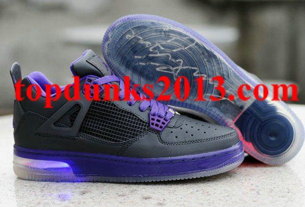 Air Jordan 4 IV Retro 2012 New Lightening Mens Shoes Black Purple