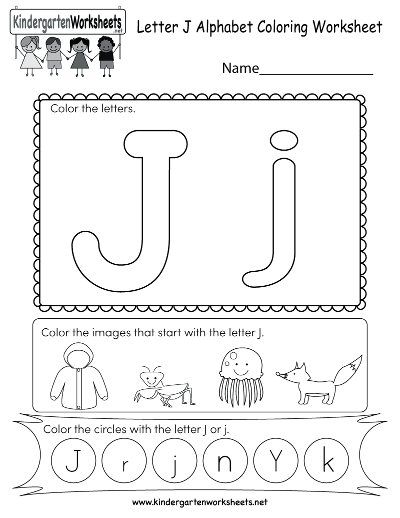 this is a fun letter j coloring worksheet kids can color the letters and the images that start. Black Bedroom Furniture Sets. Home Design Ideas