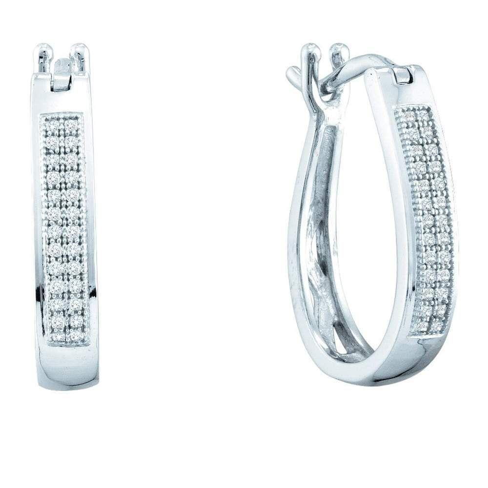 10kt White Gold Womens Round Diamond Hoop Earrings 1/8 Cttw