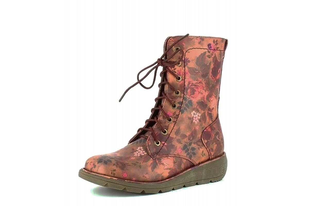 87a6b6334b0e Heavenly Feet Walker 2 Berry Purple Floral Wedge Lace Up Military Boots