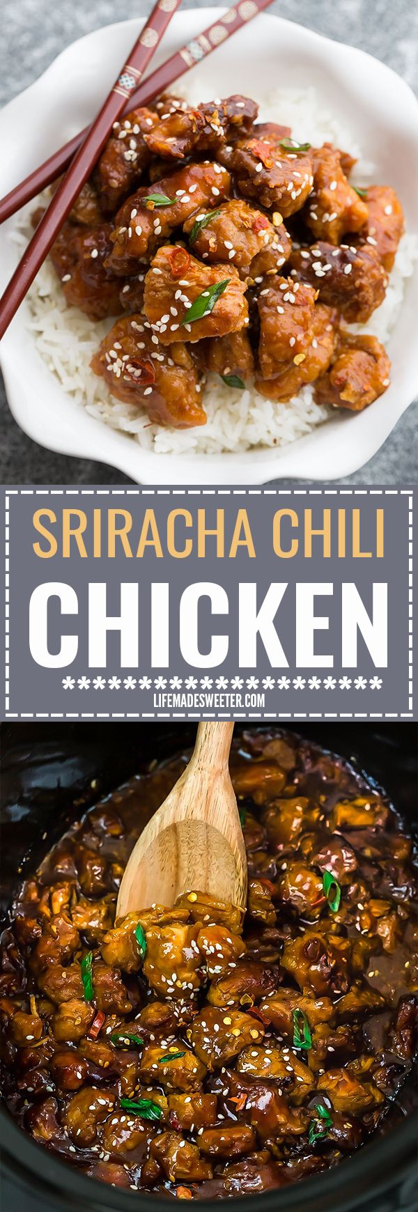 Slow Cooker Sriracha Chili Chicken Meal Prep Lunch Bowls - coated in a sweet, savory and spicy sauce that is even better than your local takeout restaurant! Best of all, it's full of authentic flavors and super easy to make with just 15 minutes of prep time.Weekly meal prep for the week and leftovers are great for lunch bowls for work or school. #crockpotmealprep