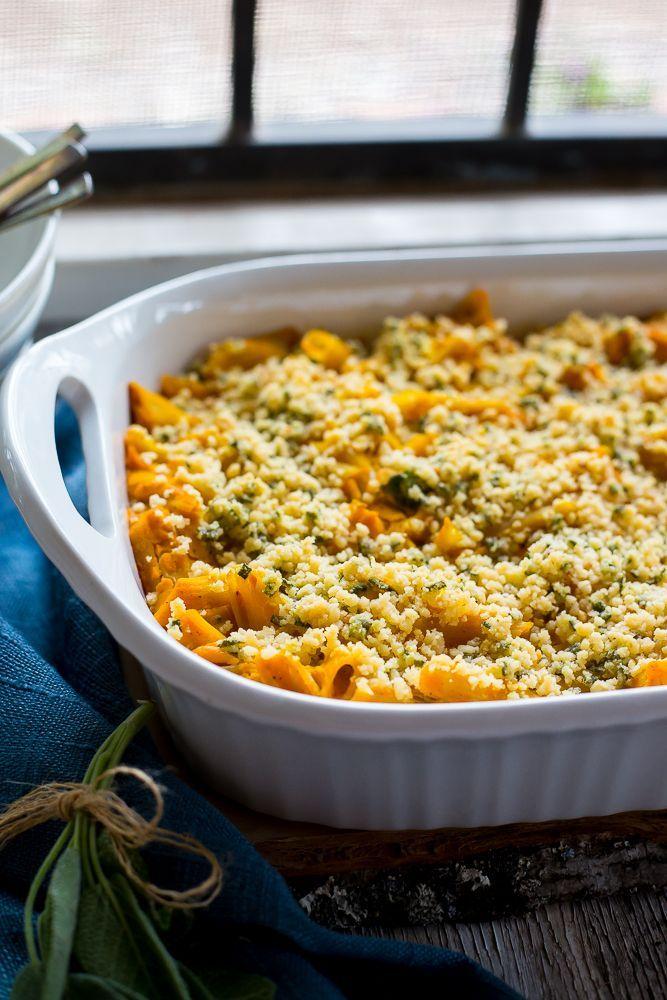Vegan Butternut Squash Mac N Cheese With Crispy Sage Breadcrumbs Butternut Squash Mac And Cheese Recipes Vegetarian Recipes