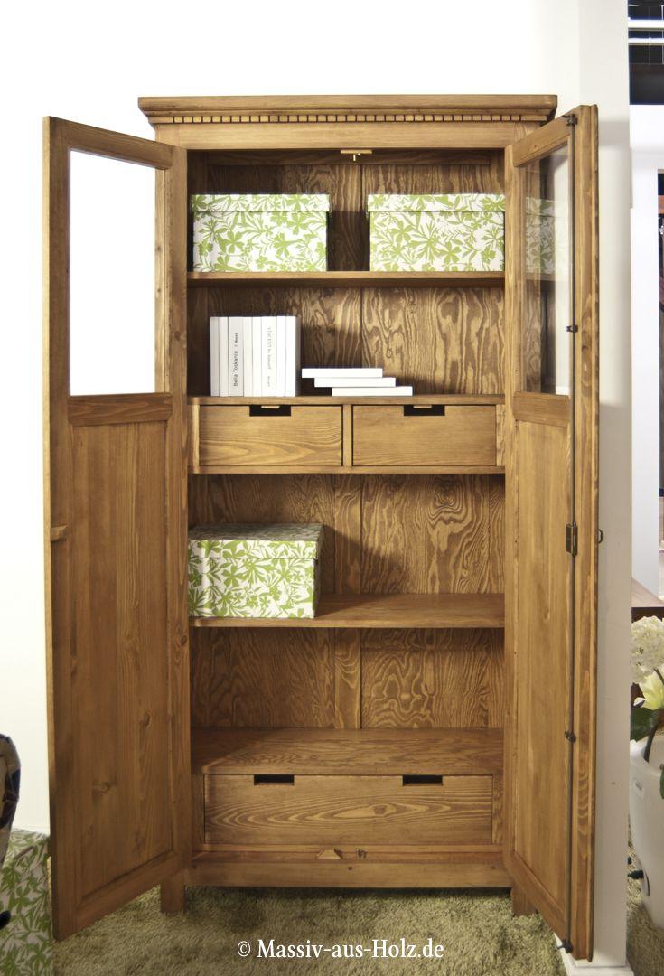 holz schrank wohnzimmer einrichtung, vitrine in naturtönen, auch in wunschgröße erhältlich; www.massiv, Design ideen