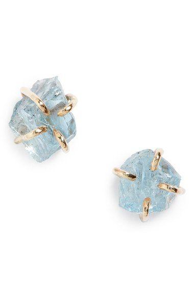 Melissa Joy Manning Raw Aquamarine Stone Stud Earrings Available At Nordstrom