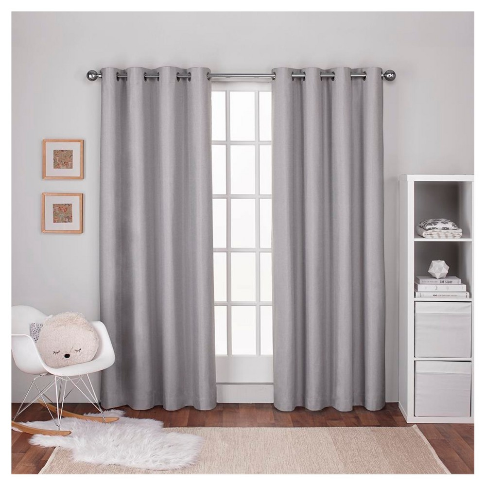 """Linen Thermal Curtain Panel Set Gray (54""""x108"""") - Exclusive Home"""