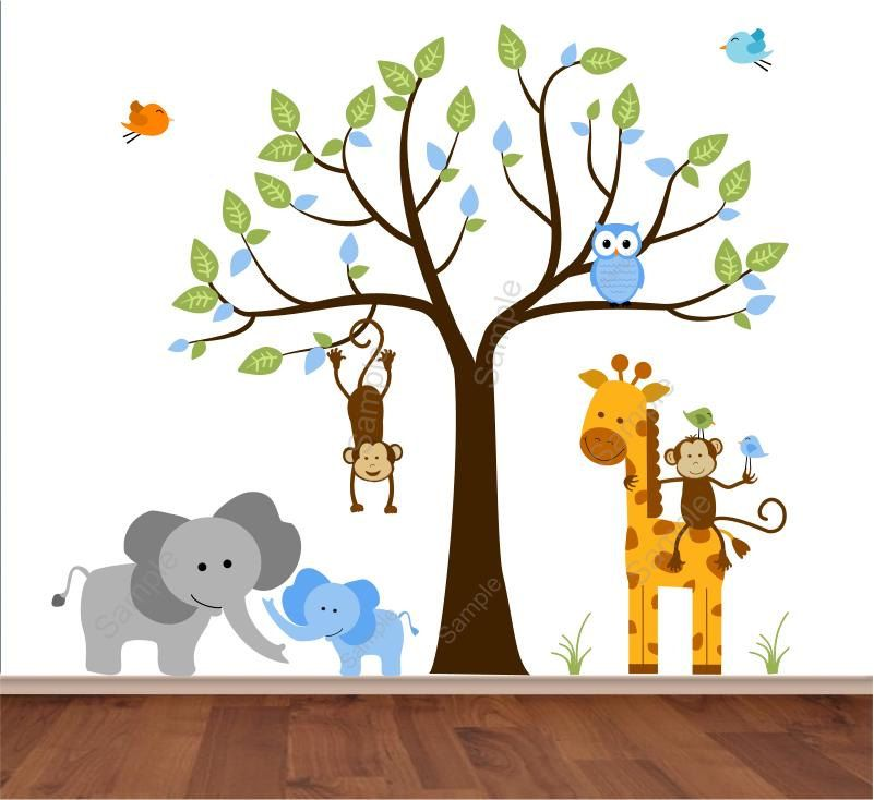 Jungle Wall Decal Tree with Mom and Baby Boy Elephant, Monkey, Giraffe -  Lollipop Zoo Animal Nursery Wall Decal - Reusable Decals - HD s6u