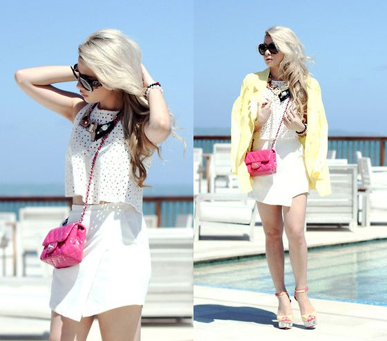 7c47ba8bcf97 Zara Cropped Top, White Skort, Chanel Mini Square 7, Sophia Webster Shoes,  Prada Sunnies, Necklace, Yellow Blazer