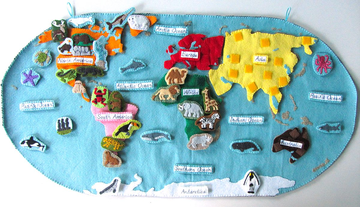 Animals Of South America For The Montessori Wall Map Quietbook - Fao schwarz felt us wall map giant