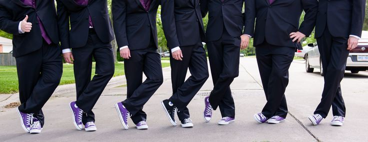 Groomsmen Purple Converse Chuck Taylor Wedding Shoes With Navy Suits
