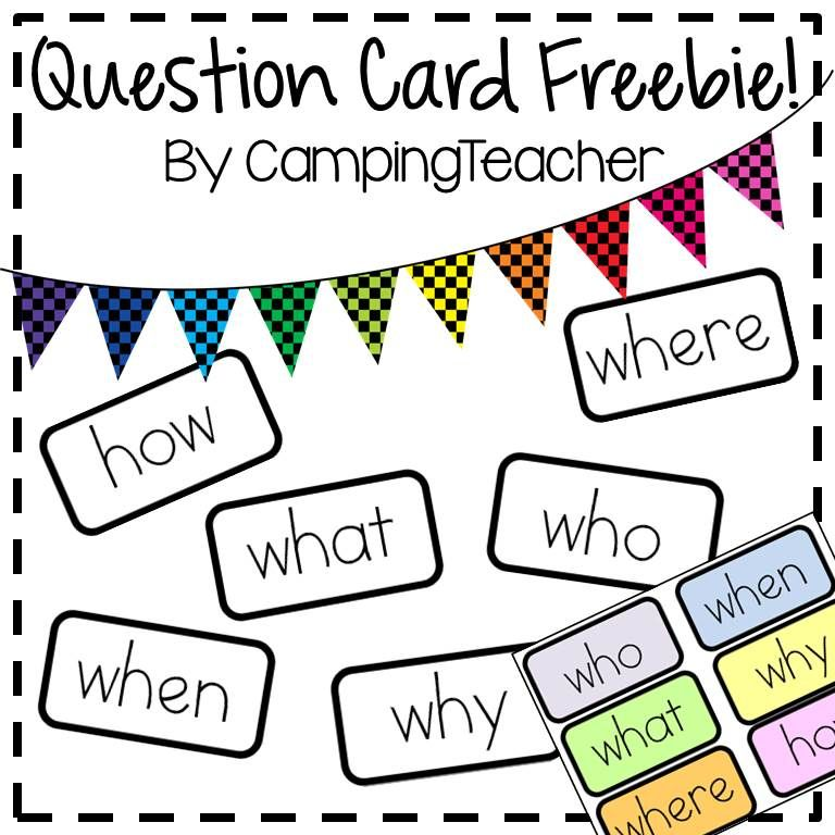 Question Card Freebie Who What Where When Why How Free