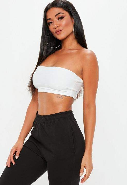d7a4c20d56bee Missguided White Petite Bandage Ribbed Bandeau Top
